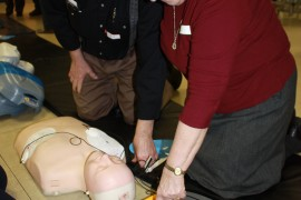 Emergency responders help residents prepare for medical emergencies at heart attack/stroke awareness workshop