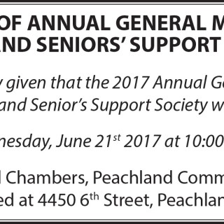 Peachland Senior's Support Society holding AGM