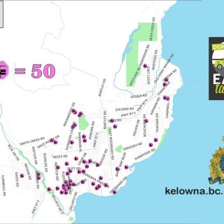 Car theft heat map of West Kelowna