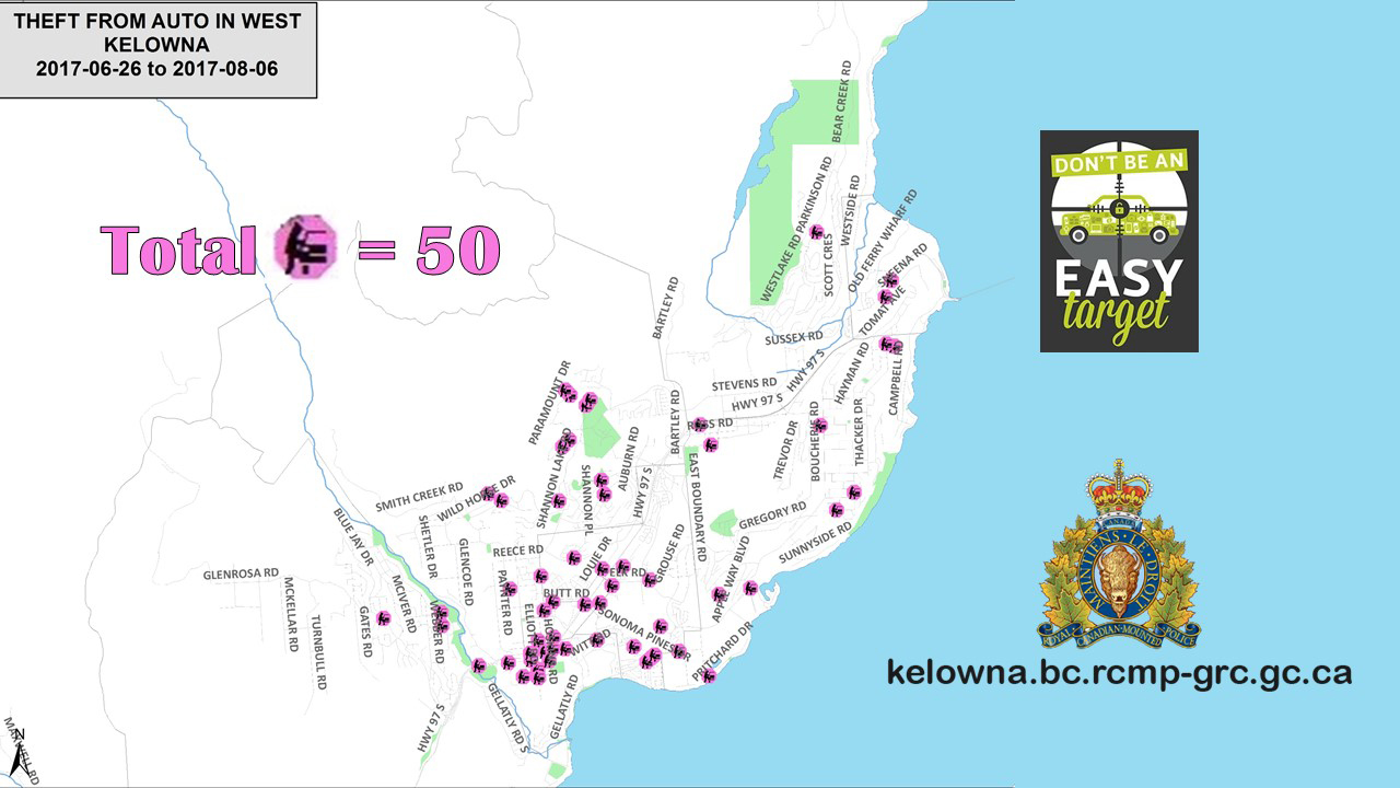 Car theft heat map of West Kelowna Peachland View